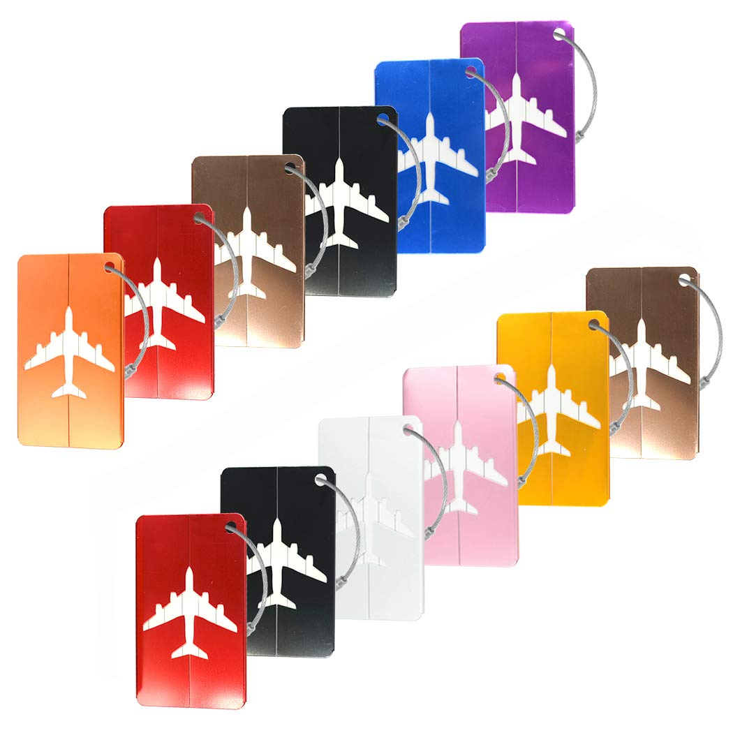 12Pcs Creatiee Luggage Tags, Aluminum Airplane Pattern Luggage Tags with Stainless Steel Ropes for Luggage Bag Identifier/Travel Accessories(Mixed Colors)