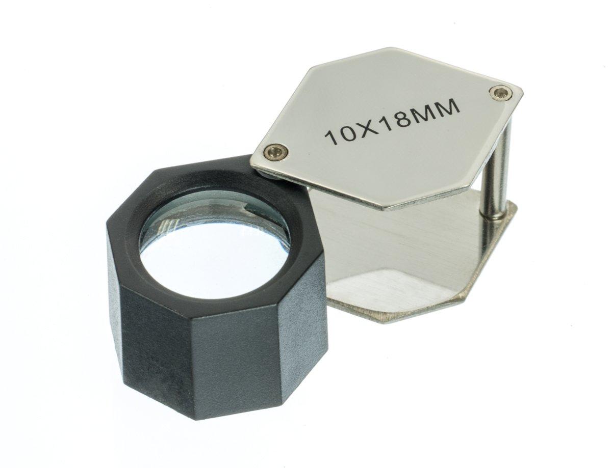 SE MJ381810H 10x 18mm Hexagonal Jeweler's Loupe, Chrome Plated Sona Enterprises