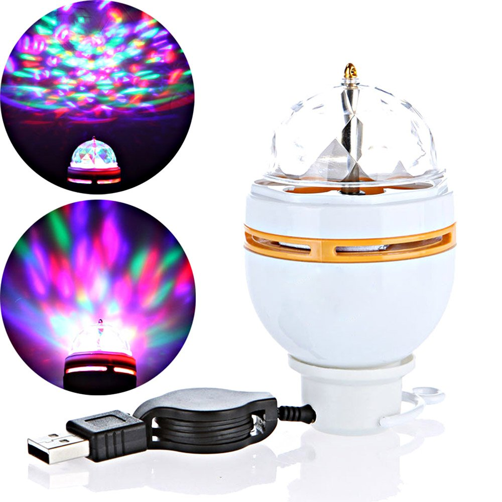 Amazon.com: Docooler® 3W LED Portable Stage DJ Light Auto Rotating ...