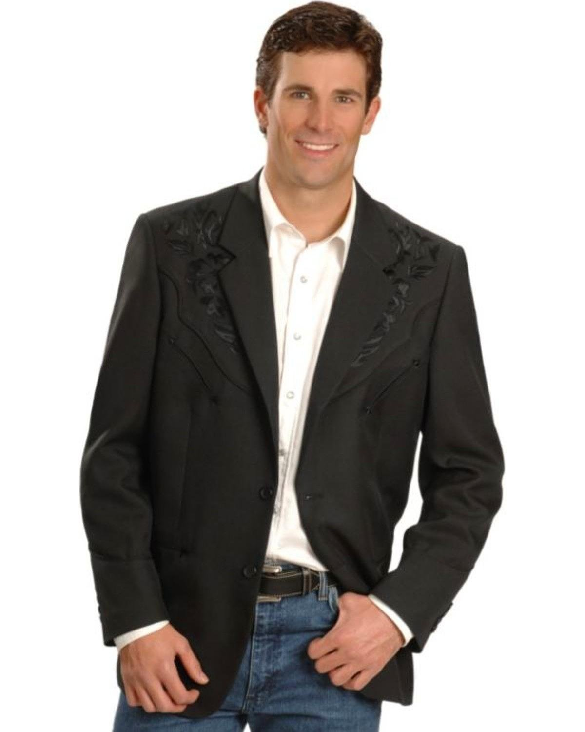Scully Men's Floral Embroidered Western Jacket Black 44 R