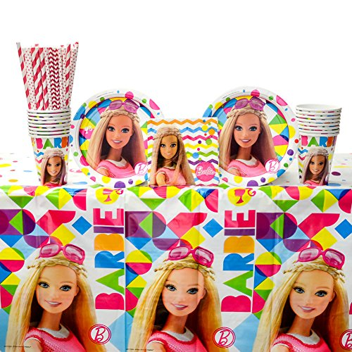 (Barbie Sparkle Party Supplies Pack for 16 Guests: Straws, Dessert Plates, Beverage Napkins, Table Cover, and)
