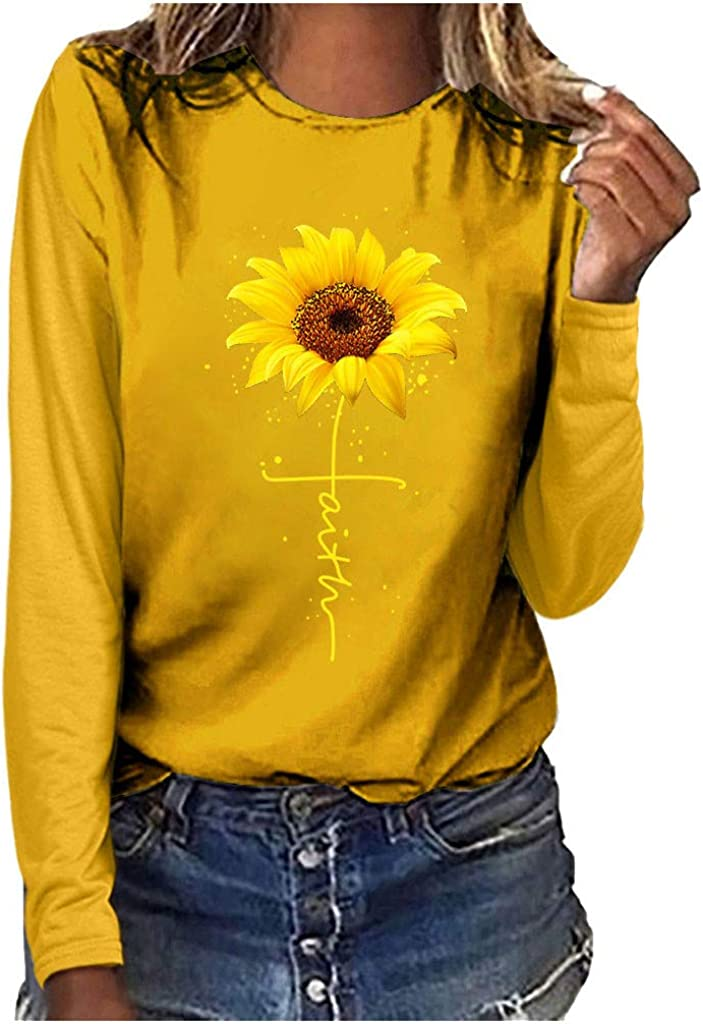 Womens Long-Sleeved Sunflower Print T-Shirt Round Neck Causal Tunic Blouse Tops