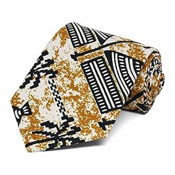 TieMart Men's African Hut Print Necktie
