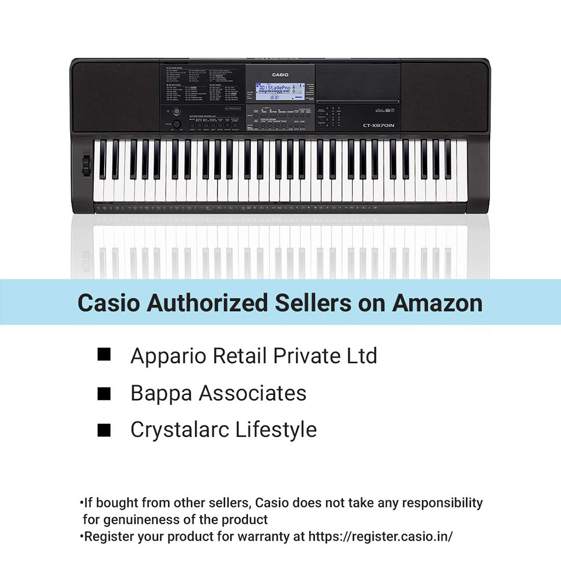 d08367ba7e3 Casio CT-X870IN 61-Key Portable Keyboard (Black)  Amazon.in  Musical  Instruments