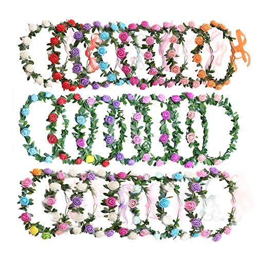 (AmFor 22 Pcs Multicolor Rose Flower Wreath Crown Headband Garland Headpiece for Music Festival Celebration Beach Wedding Party)