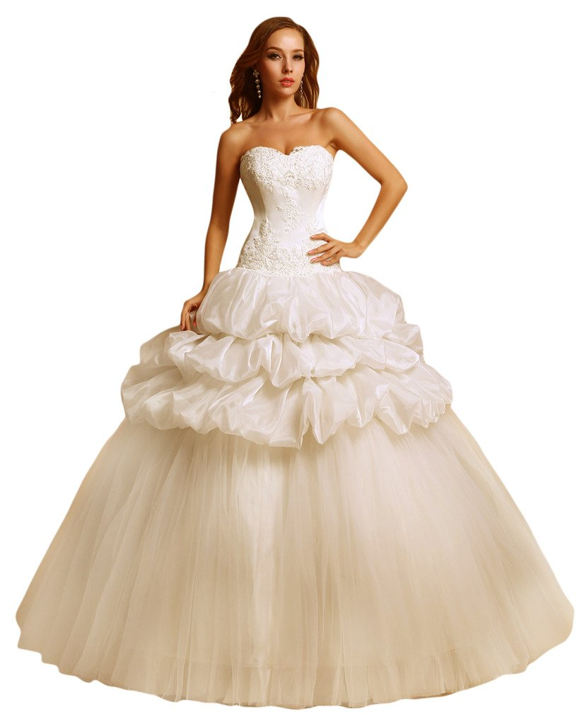 (ウィーン ブライド) Vienna Bride ウェディングドレス 花嫁ドレス ドレス レース ブライダル ふんわりとする裾 編み上げ ハイネック 透け感 オープンバック ウエストニッパー アップリケ B01NCUNOD3 21W|アイボリー アイボリー 21W