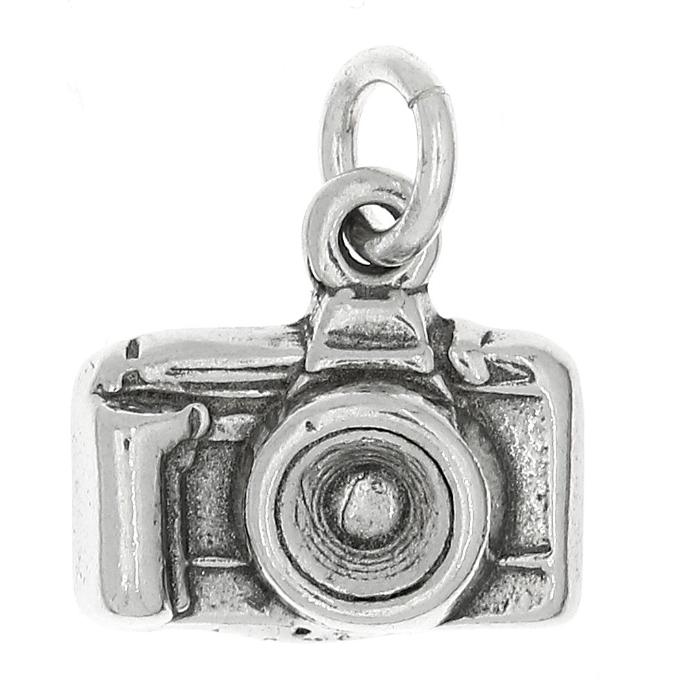 Sterling Silver Oxidized Point and Shoot Camera Charm