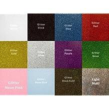 Siser Siser-GL-10 Glitter Heat Transfer Vinyl for T-Shirts, 12 Color