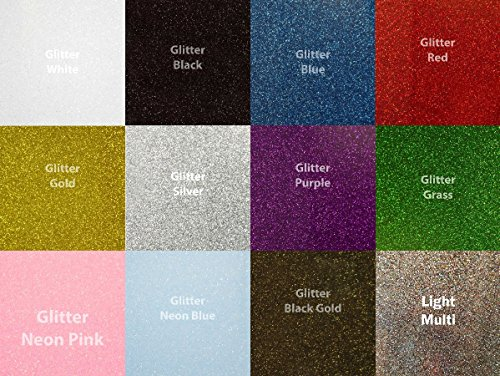 Siser Siser-GL-10  Glitter Heat Transfer Vinyl for T-Shirts, 12 Color by Siser