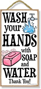 Honey Dew Gifts Wash Your Hands With Soap And Water Thank You - 5 x 10 inch Hanging Bathroom Decor, Wall Art, Decorative Wood Sign Home Decor