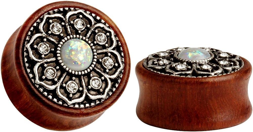 KUBOOZ(1 Pair Vintage Wood Opal Center Flower Ear Plugs Tunnels Gauges Stretcher Piercings