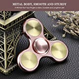 Fidget Spinner Metal,Aemotoy Hand Spinner 5 - 7 Minutes Spin Time Stainless Steel Bearing Tri-spinner Fidget Toy Stress Reducer Autism ADD ADHD EDC Focus Anxiety Relief Toys- Rose Gold