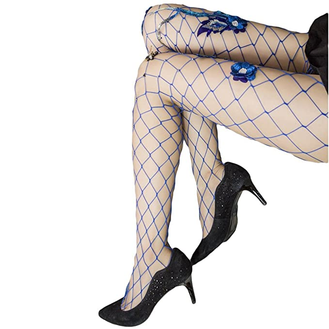 0a91d6c62b9d5 Image Unavailable. Image not available for. Color: Women Girl Sequin Embroidery  Flower High Socks Hollow Out Fishnet Stocking(blue)