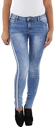 Damen Skinny Slim Fit Röhren Jeans Hose Stretch Hüft Baggy Damenjeans Blau #1#