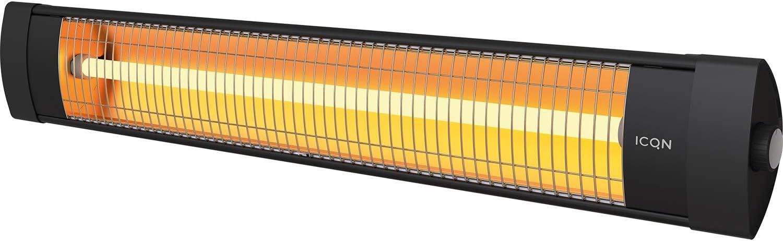 IP 34: Wasser- und Staubschutz ICQN Quarz-Heizung 2300 Watt Thermal Serie ITQ2300 Schwarz Quarz f/ür Innenbereich