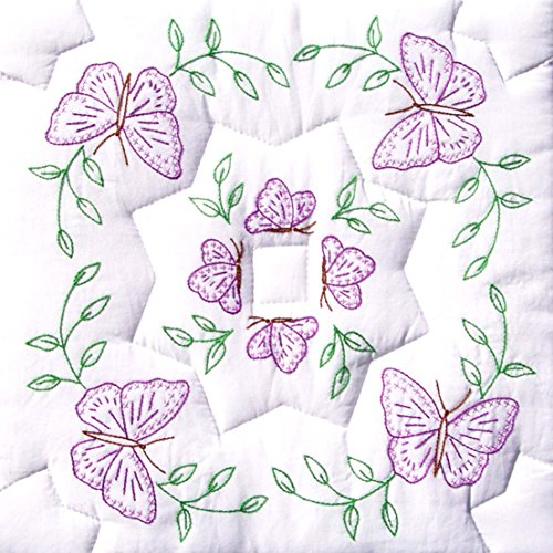 "Jack Dempsey Stamped White Quilt Blocks 18""X18"" 6/Pkg-Interlocking Circle of Butterflies"