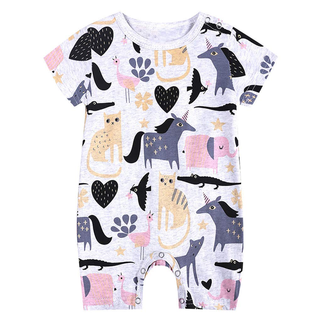 Toddler Newborns Girls Boys Cute Cartoon Floral Print BabySuits Outfits Short Sleeve Sleepwear RomperJumpsuits (Pink, 9-12 M)