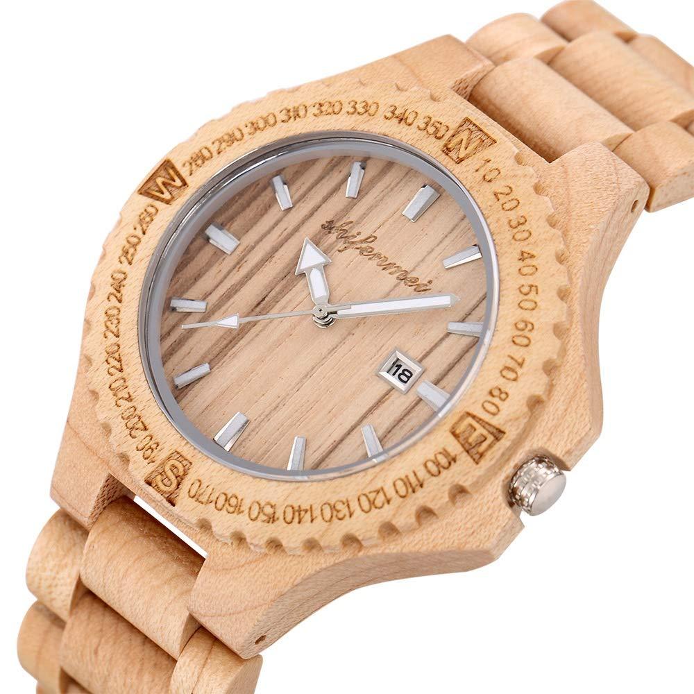 Klockor #Wrist Fashion herr träklocka kalender kvarts träbord par träklocka dekoration (färg: B) a