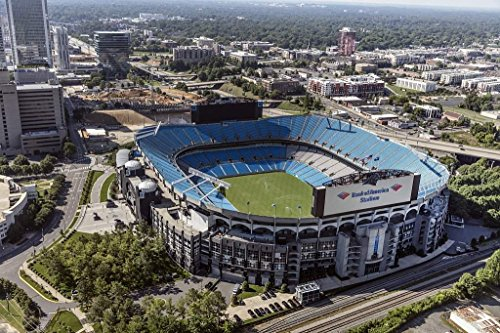 Photograph | Aerial view of Bank of America Stadium, home of the Carolina Panthers National Football League team, in downtown Charlotte, North Carolina| Fine Art Photo Reporduction 66in x 44in