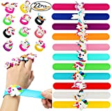 VAMEI 22 PCs Slap Bracelets Unicorn Rings Bracelets Rubber Toys Wristband Slap Bands Birthday Party Favors Supplies for Teens Girls Boys Kids