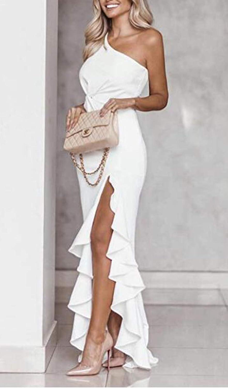 Women One Shoulder Split Bodycon Formal Evening Dress
