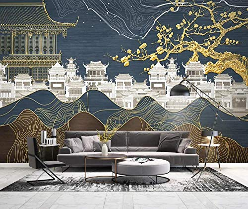 3D Wallpaper Tv Wall Decor Sticker Chinese Gold Line Drawing Landscape Plum Blossom Building Modern Wall Paper Wall Stickers for Bedroom Living Room (What Are Color Plum Blossoms)