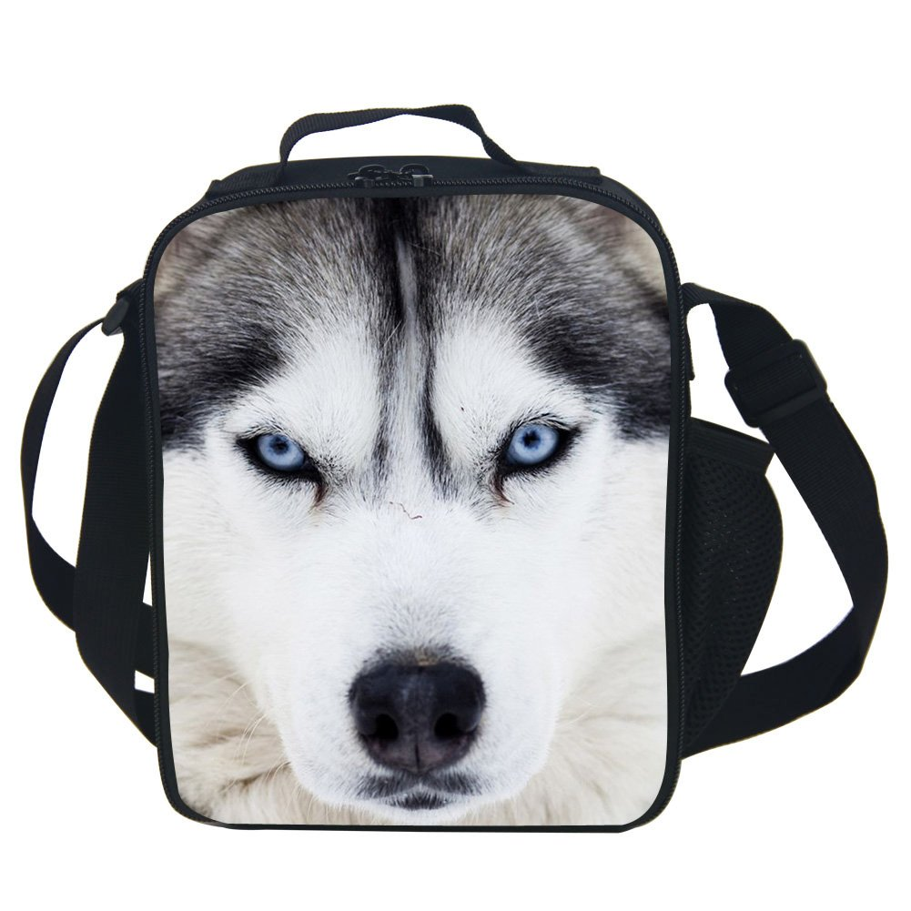 CARBEEN 3D Animal Husky Lunch Bag Insulated Lunch Box Cooler Bag