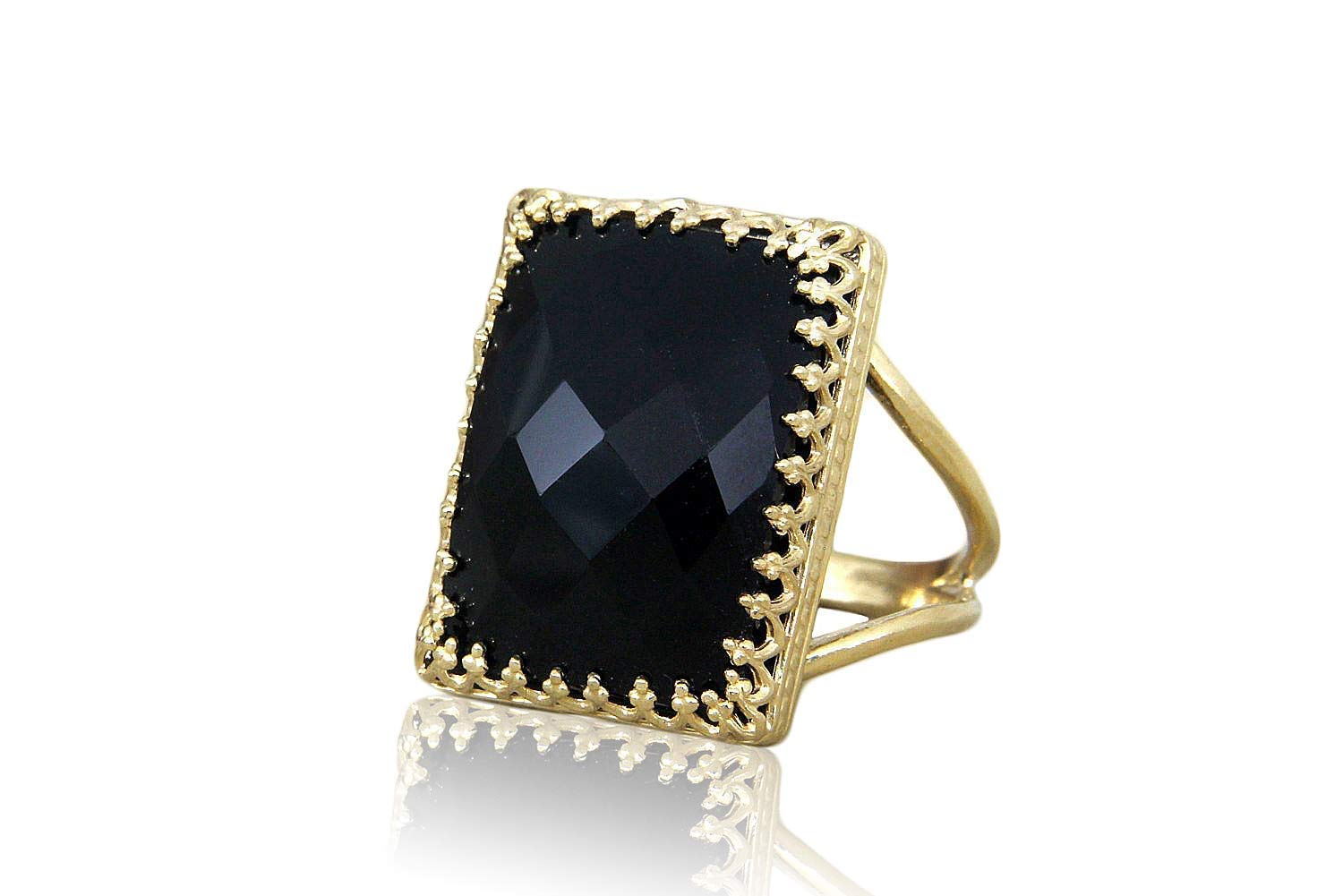 Sterling Silver and 14k Gold Onyx Ring Fine Jewelry Ideal Gifts For Women
