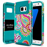 Galaxy S7 Case,AnnBay for Girls Armor Shock Absorption Hybrid Dual Layer Heavy Duty Defender Protective Phone Case Cover for Samsung Galaxy S7 (Blue Totem Flower)