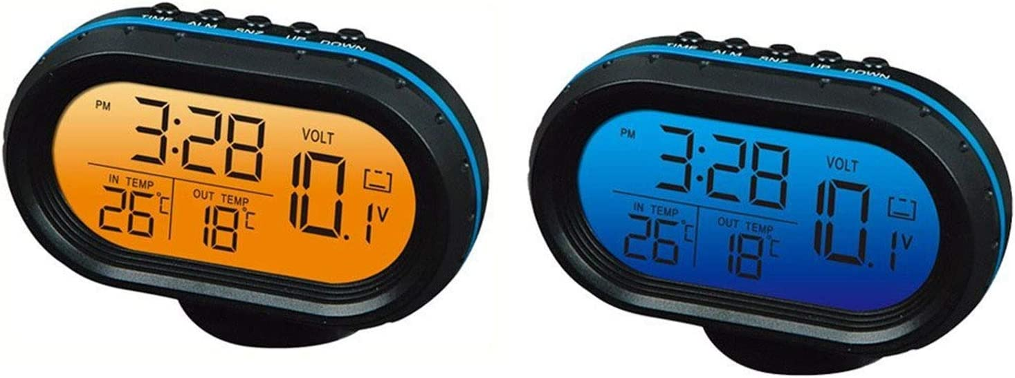Yosoo 12V Termómetro digital del voltímetro del reloj de alarma del monitor, multifuncional Autometer voltaje del reloj de congelación Medidor de temperatura, medidor de detector de reloj LCD monitor