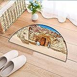 Carpet Floor mat Bath mat Door mat of Abandoned Sets of The Movie in Tunisia Desert Phantom Galaxy Wars Themed Water-Absorbing Floor mat Anti-Slip mat W31 x H20 INCH