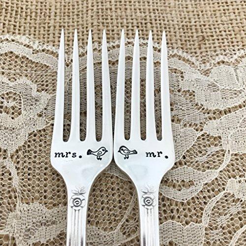 Lovebirds mr and mrs forks, hand stamped wedding forks,Royal Rose pattern