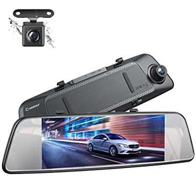Crosstour Dual Mirror Dash Cam, Waterproof Rear View Backup Camera, FHD 1080P IPS Touch Screen 290° Wide Angle Cam with G-sensor, Parking Monitor, Loop Recording: Car Electronics