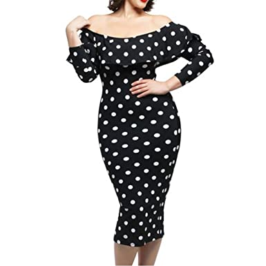 5f400b19f6a Image Unavailable. Image not available for. Color  Women Plus Size Long  Sleeve Off Shoulder Vintage Polka Dot Ruffle Bodycon Maxi Dress