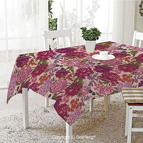 BeeMeng Large dustproof Waterproof Tablecloth,Family Table Decoration,Shabby Chic Decor,Peonies BlackBerry and Wild Flowers in Vintage Style Colorful Nature Yard Decorative,Multicolor,70 x 104 ()