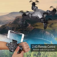 fannuoyi Watch Remote Control Drone, 4CH 4 Axis Mini Foldable RC Quadcopter Toy with 0.3MP WIFI FPV Camera – Pocket Size, Storage Case Box