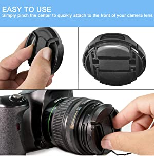 43mm Lens Cap [3 Pack], HonesThing 43mm Camera Lens Protection Cover with 3 Lens Cap Keepers compatible with Canon, Nikon, Sony and any other DSLR Camera (Color: 43mm)