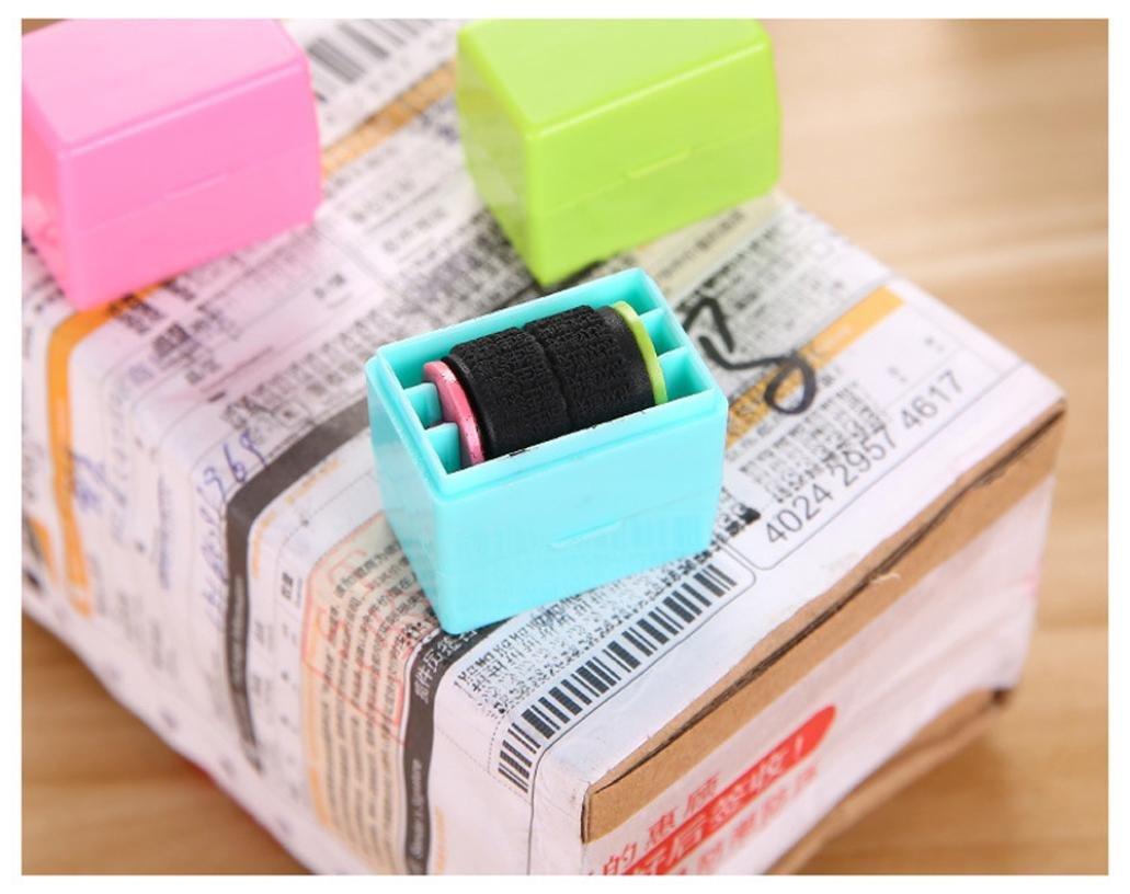 Hunpta 1/pcs Pr/éserve votre ID Roller Stamp Selfinking Tampon Messy Code S/écurit/é Bureau bleu