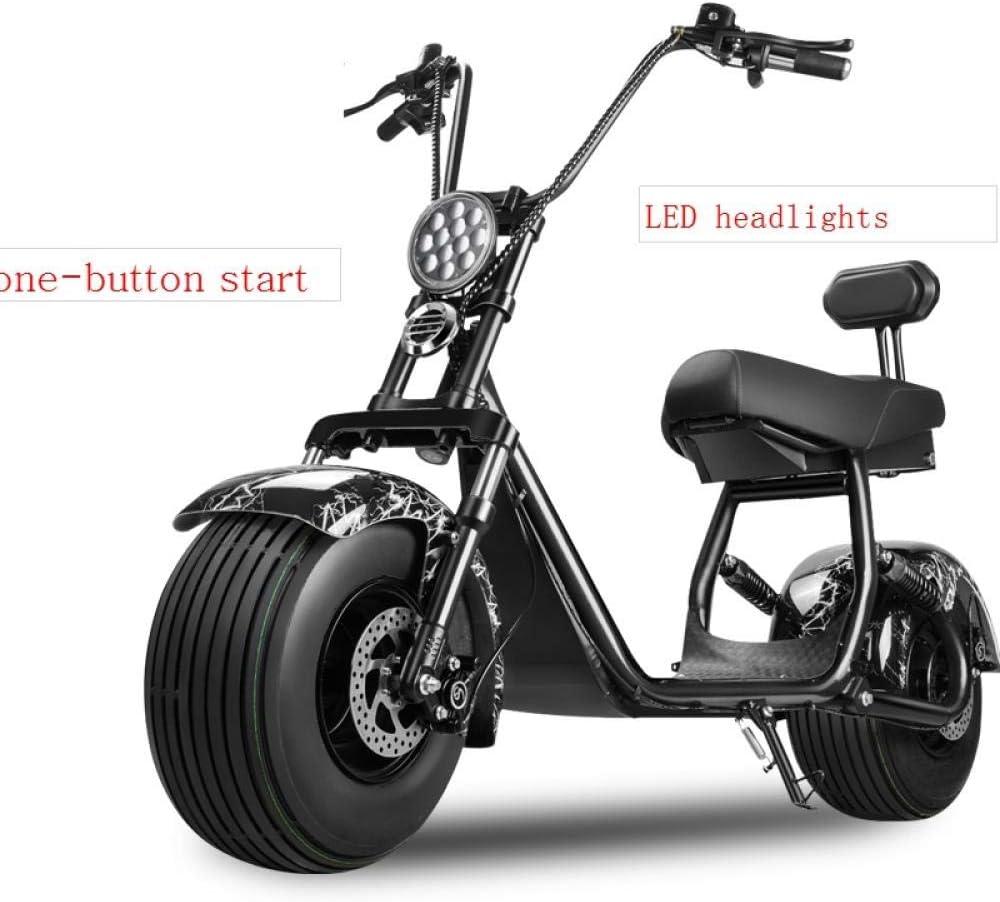 Scooter eléctrico para adultos, patineta eléctrica Harley, batería de litio Andador eléctrico Harley, llanta ancha para adultos coche eléctrico 60V 12A 1500W, un botón de arranque, con alarma: Amazon.es: Deportes y aire
