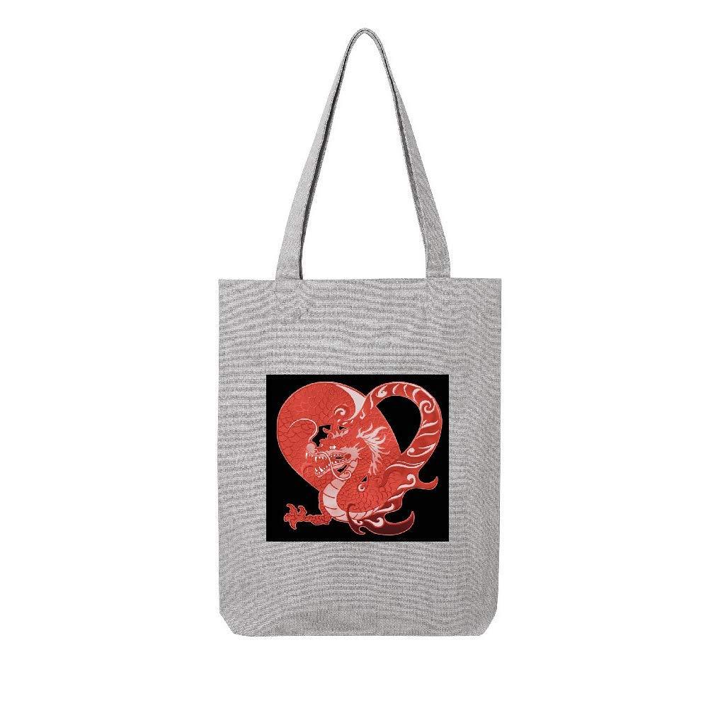 access-mobile-ile-de-re.fr Tote bag en toile recycle gris dragon japonnais 1