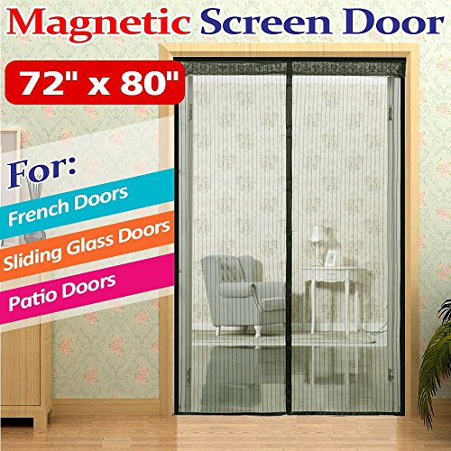 "72""(w) x 80""(h) Hands Free Magnetic Screen Door for French Doors,Sliding Glass Doors and Patio Doors,Full Frame Velcro Bug Mesh Curtain,Black"
