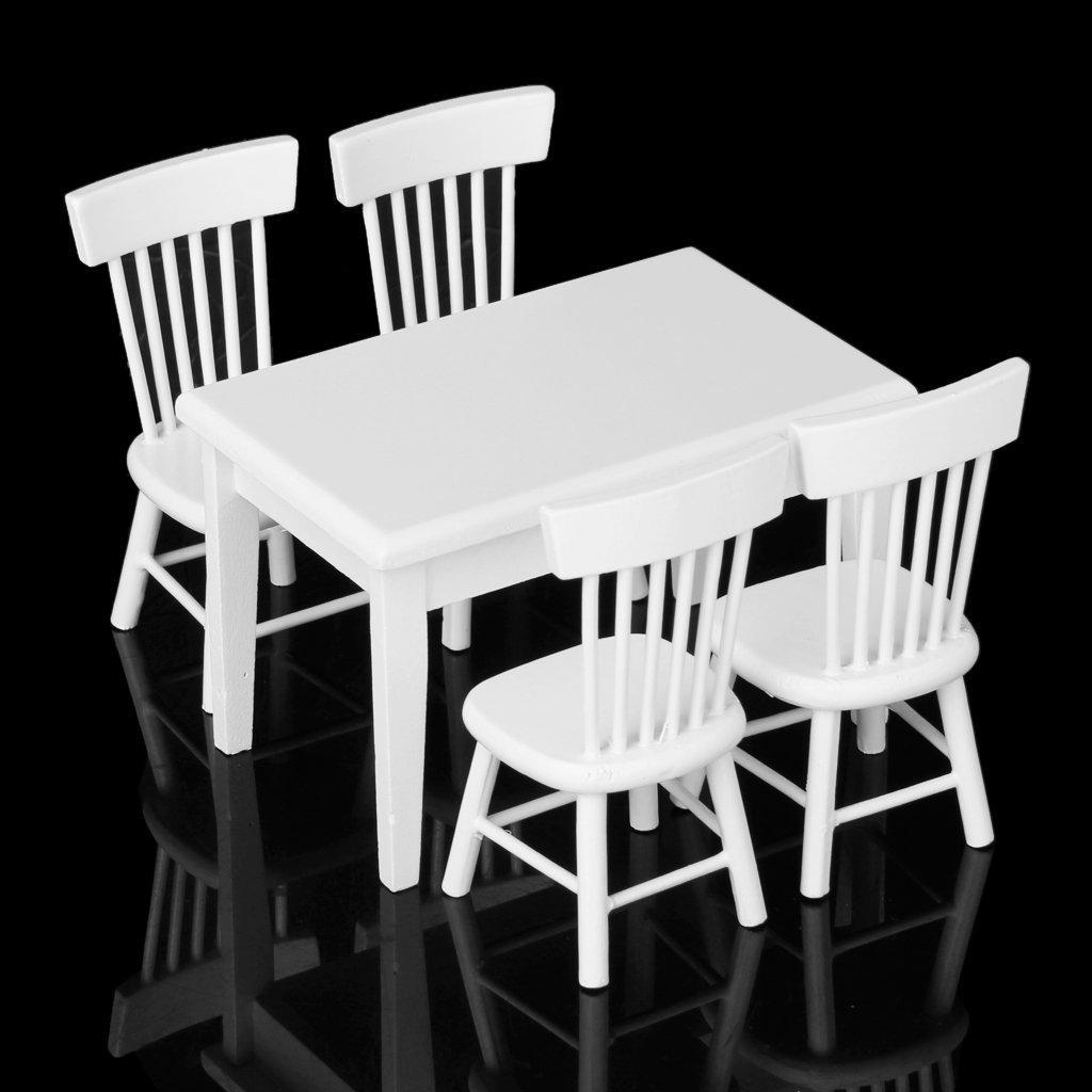 R 5 piezas Juego de silla mesa modelo Muebles de casa de munecas en miniatura Blanco 1//12 TOOGOO