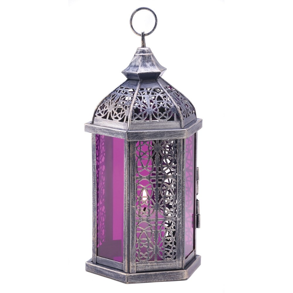 Antique Pewter Finish Enchanted Amethyst Candle Lantern by Furniture Creations
