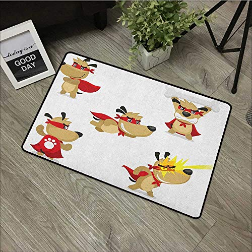 Interior Door mat W24 x L35 INCH Dog,Superhero Puppy with Paw Costume and Mystic Powers Laser Vision Supreme Talents, Red Cream White Non-Slip Door Mat Carpet -