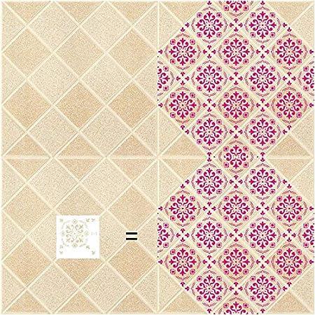 Verschiedene Muster DIY Art Fliesen Dekor Wiederverwendbare Schablonen F/ür Holz Wand M/öbel Bodenfliesen Stoff Volwco 9Pcs Fliesen Schablone Mandala Boden Malerei Template Set