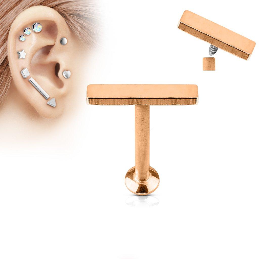 Inspiration Dezigns 2mm x 9mm Bar Top Internally Threaded 316L Surgical Steel Labret Monroe Cartilage Studs