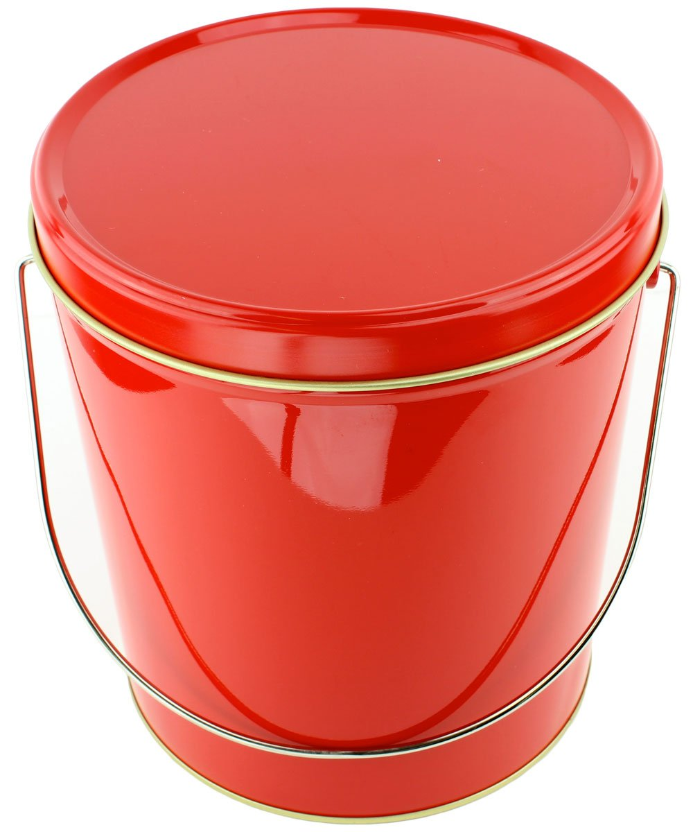 Signature Popcorn, 1-Gallon Solid Red Reusable Metal Tin - Butter/Caramel/Cheddar Cheese