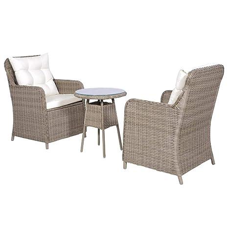 yorten 3 pzas Set Muebles de Jardín con Cojines Sillones y ...