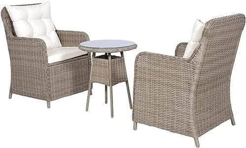 yorten 3 pzas Set Muebles de Jardín con Cojines Sillones y Mesa Ratán Sintético Estructura de Acero Marrón: Amazon.es: Hogar