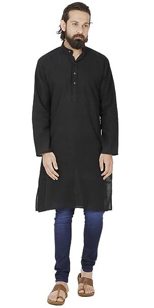 4e22729b7 SKAVIJ Men's Casual Khadi Kurta Shirt Long Sleeve Regular Fit (Black,  Medium)